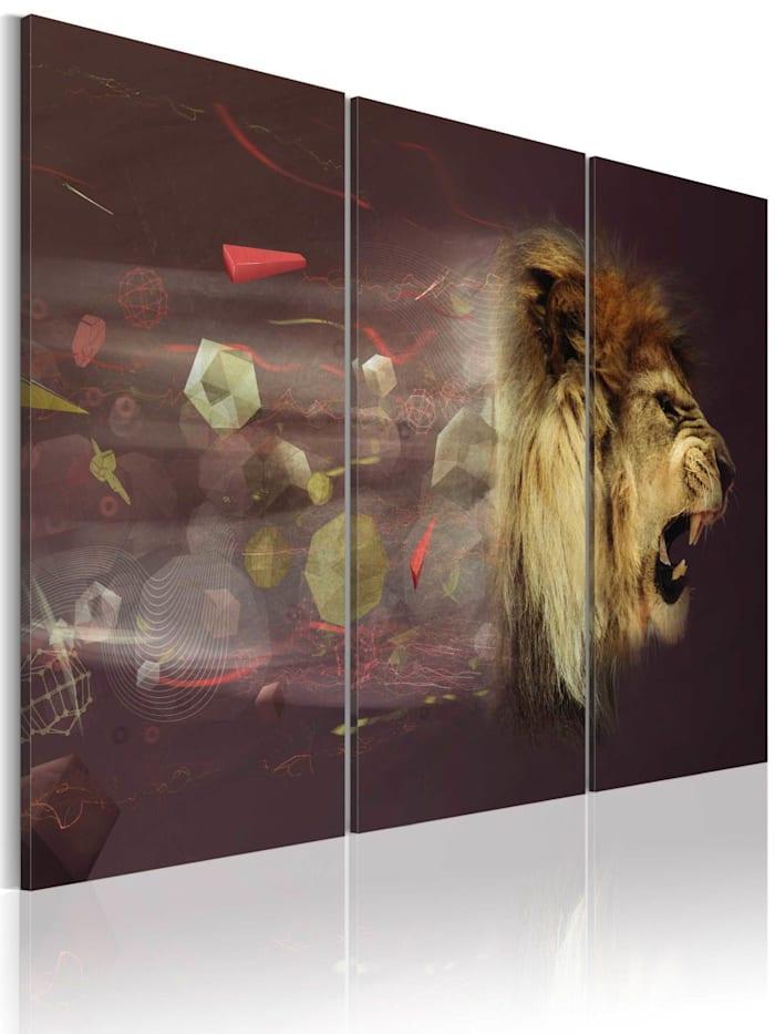 artgeist Wandbild Löwe (Abstrakt), Beige,Rot,Violett,Weiß