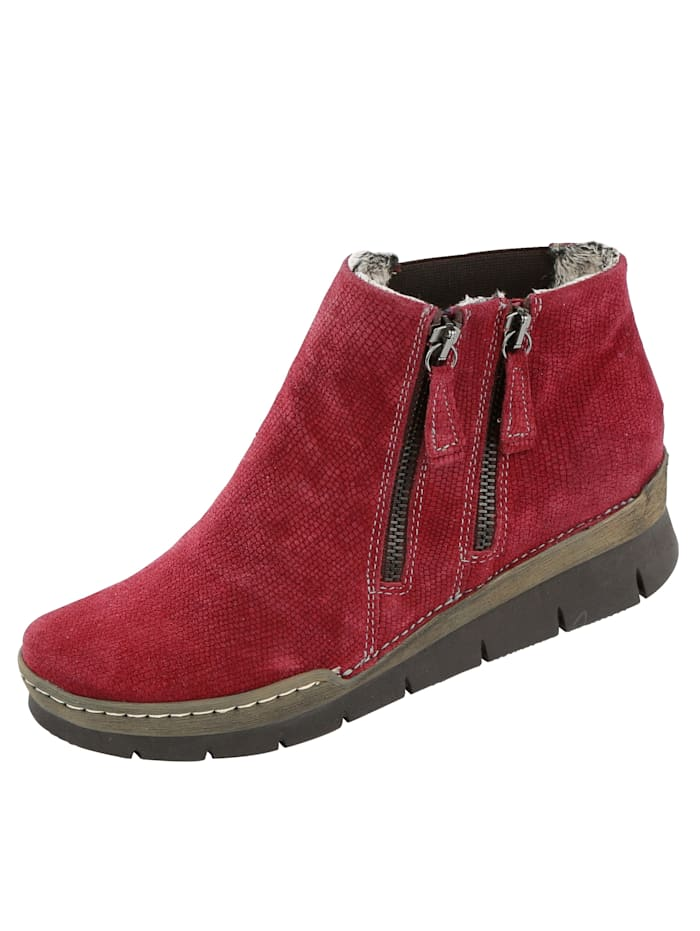 Relaxshoe Ankle boots with embossed suede leather, Red