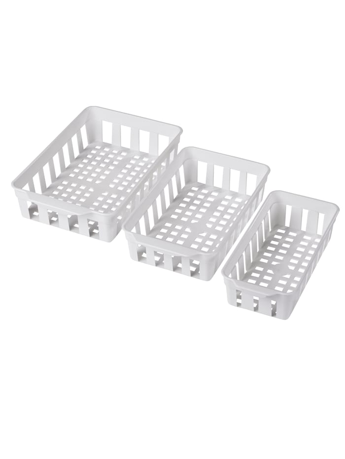 Set van 3 koelkastmandjes, Wit