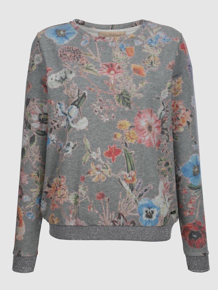 Smith & Soul Sweatshirt mit floralem Druck, Grau