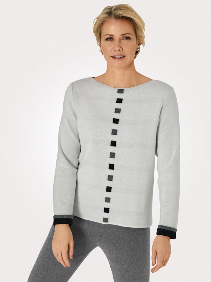 MONA Pullover in Jaquard-Qualität, Natur/Dunkelgrau/Hellgrau