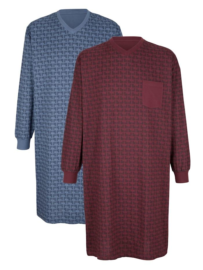 Roger Kent Nachthemden mit Seitenschlitzen, Bordeaux/Blau