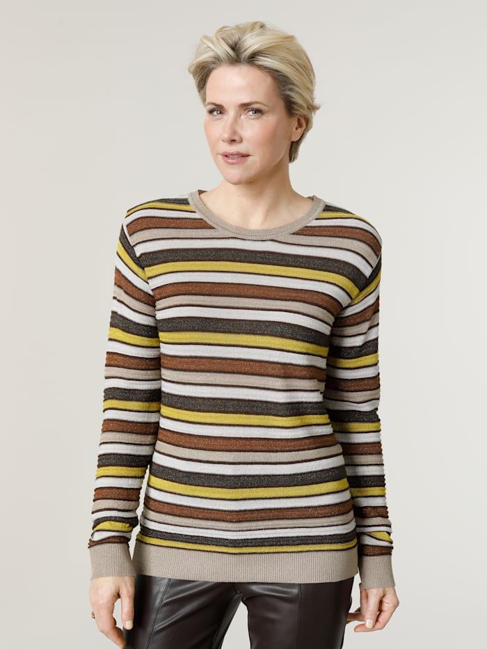 MONA Pullover aus Strukturstrick mit metallisiertem Garn, Taupe/Oliv/Senfgelb