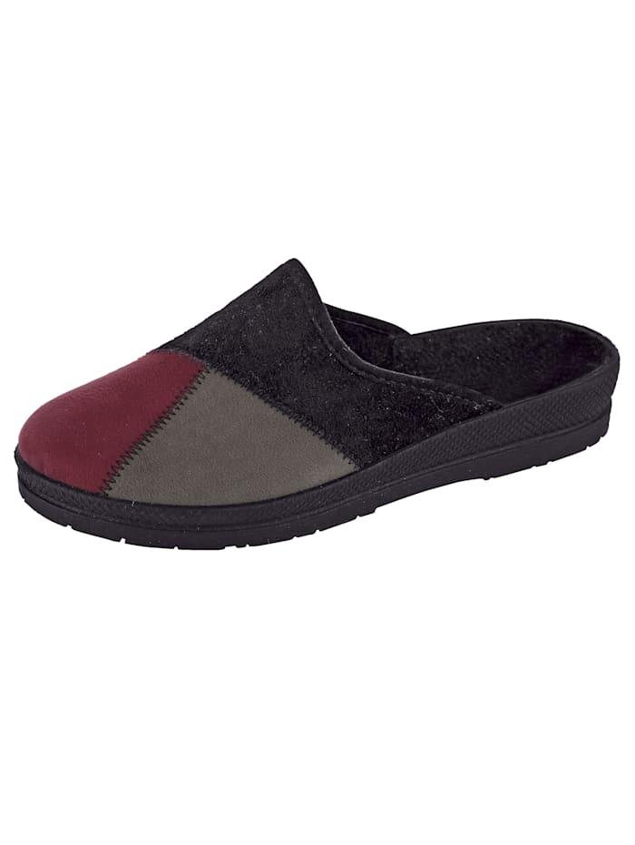 Belafit Pantoffel, Zwart/Rood/Grijs