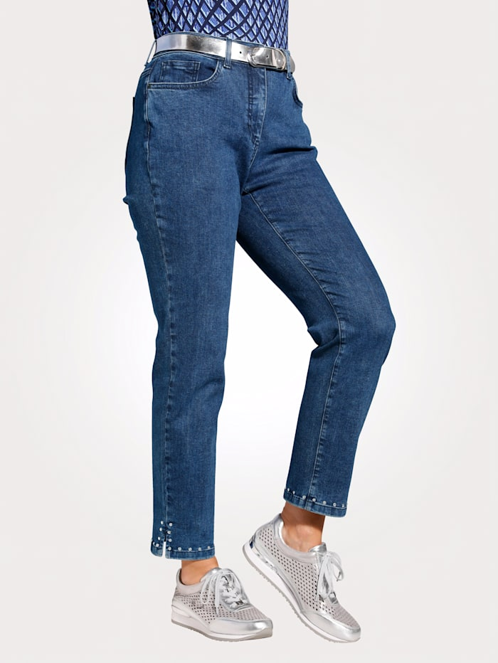 MONA Jeans mit modischem Nietenzier am Saum, Dunkelblau