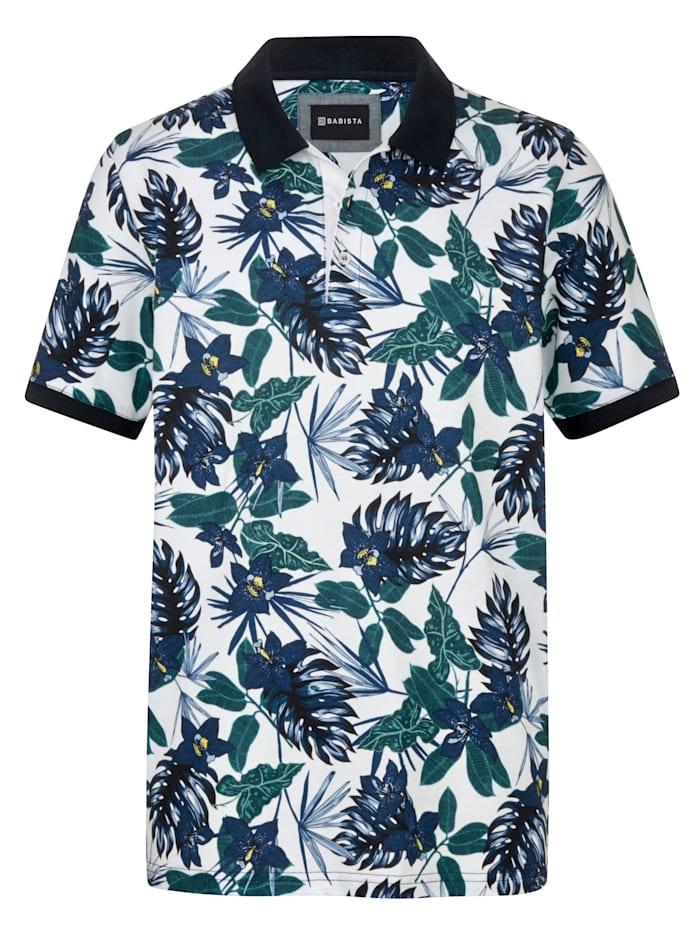 BABISTA Poloshirt met bloemenprint, Blauw/Groen
