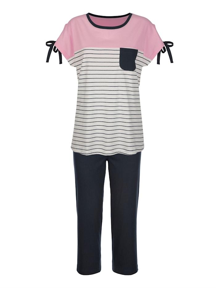 Blue Moon Schlafanzug mit verspielten Bindeschleifchen, Marineblau/Ecru/Rosé