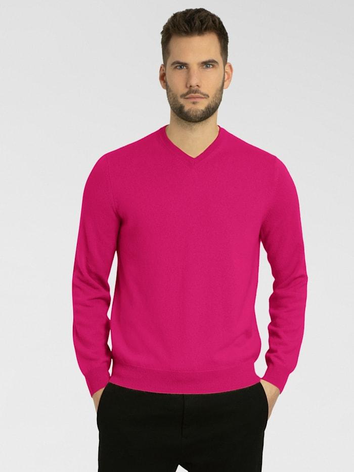 Cashmere Stories Herrenpullover V-Ausschnitt aus hochwertigem Cashmere, bubble pink