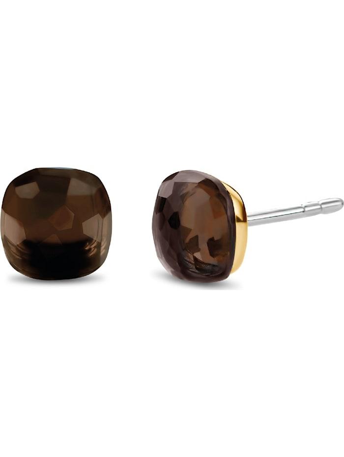 Ti Sento Milano Ti Sento - Milano Damen-Ohrstecker 925er Silber Kristall, gold/braun