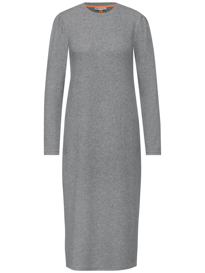 Street One Melange-Kleid mit Puffärmeln, frost grey melange