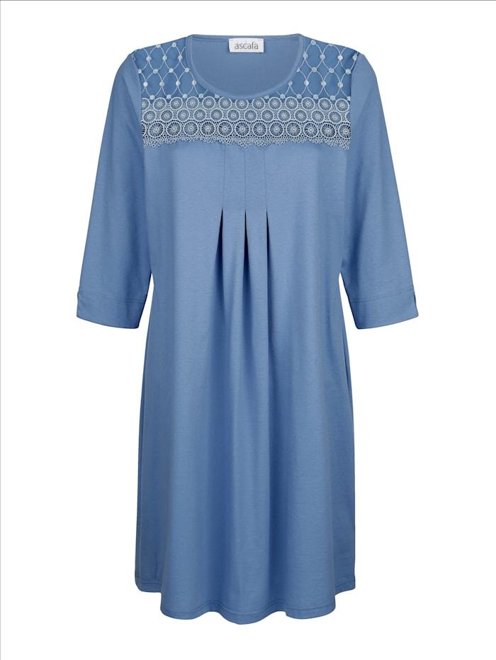 MONA Nachthemd mit schönen Raffungen im Vorderteil, Blau