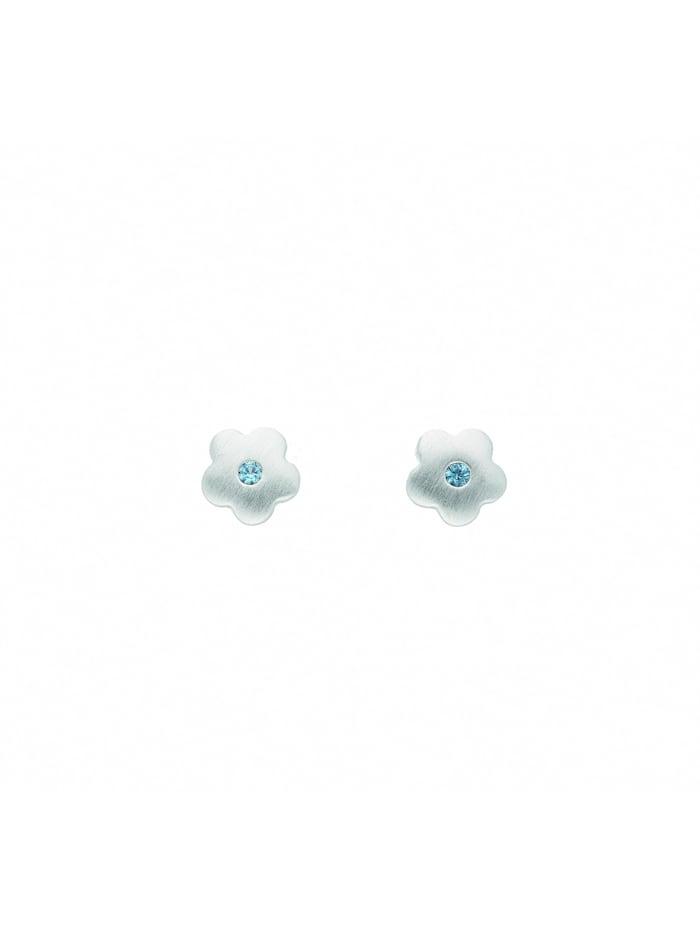 1001 Diamonds Damen Silberschmuck 925 Silber Ohrringe / Ohrstecker Blüte mit synthetischer Spinell, bunt/multi