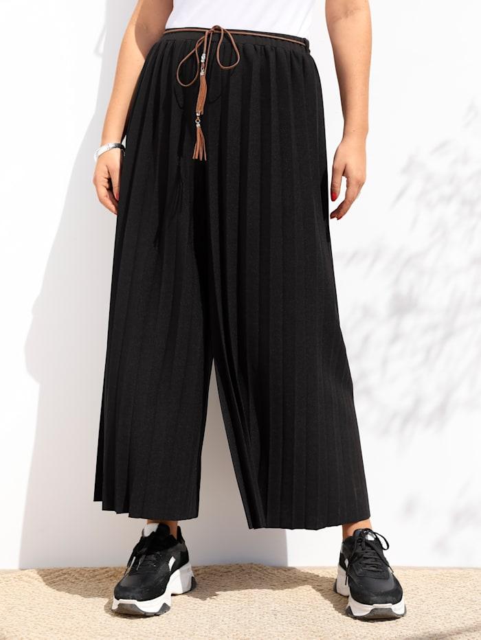 MIAMODA Pantalon plissé à effet jupe-culotte, Noir
