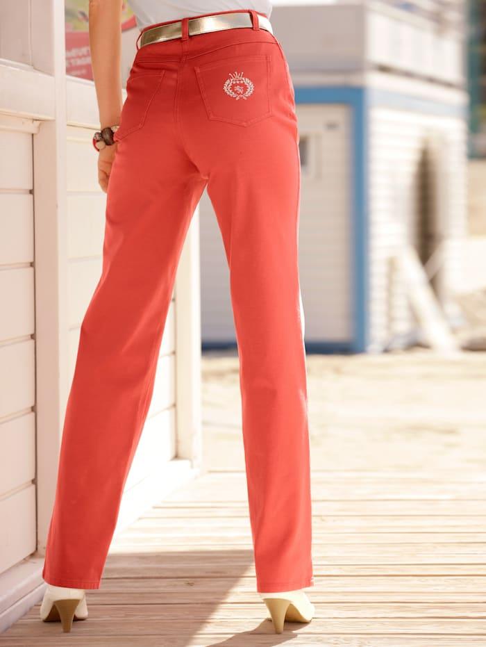 Laura Kent Jeans met borduursel, Koraal