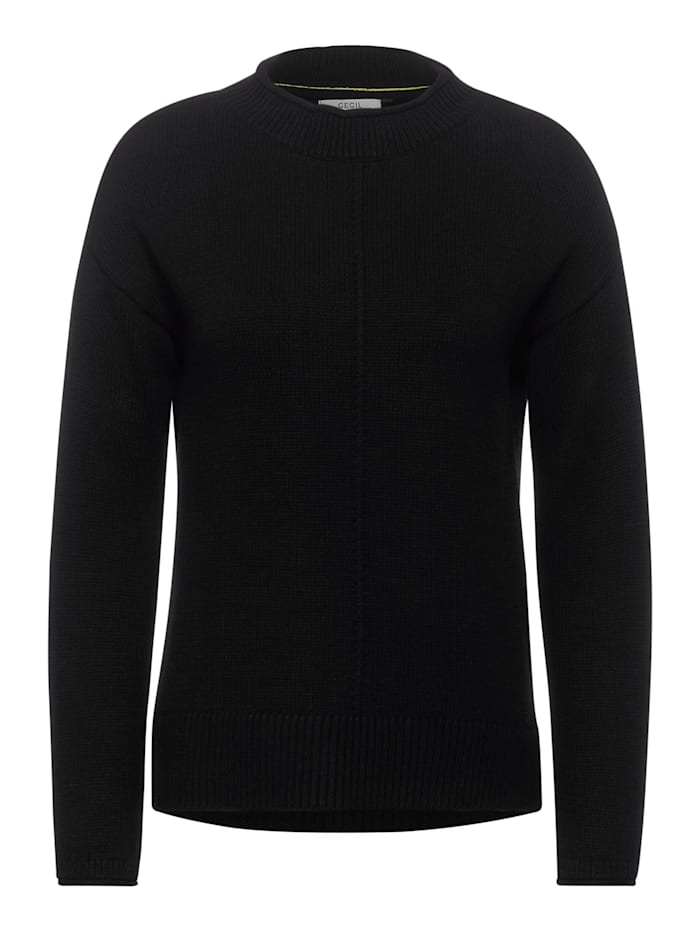 Cecil Strick-Pullover in Unifarbe, Black