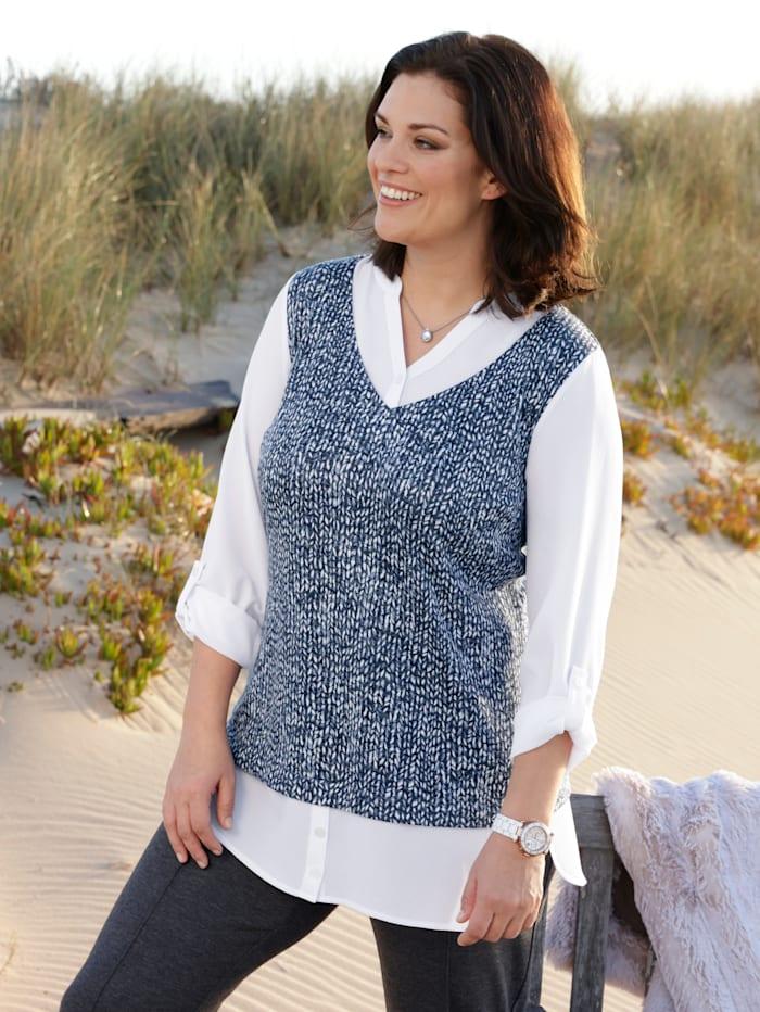 m. collection Shirt in modischer 2-in-1 Pullunder Optik, Marineblau