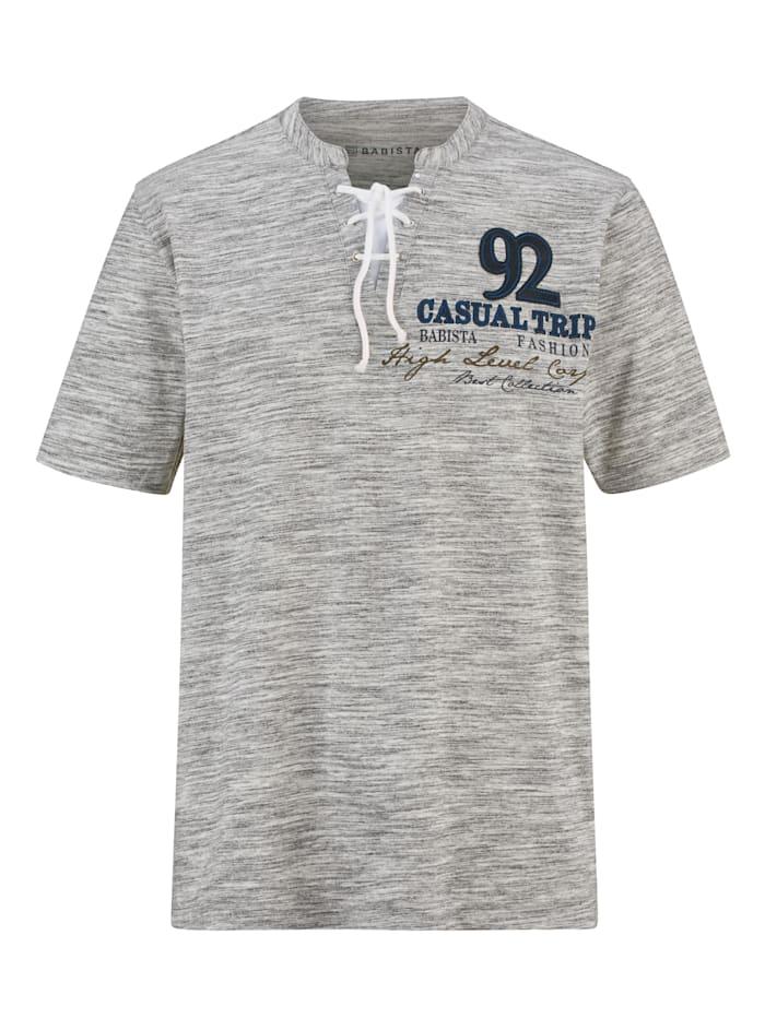 BABISTA Shirt met bijzondere kraag, Wit/Grijs