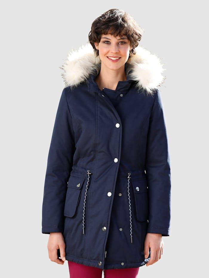 Dress In Jacka med avtagbar fuskpäls, Marinblå