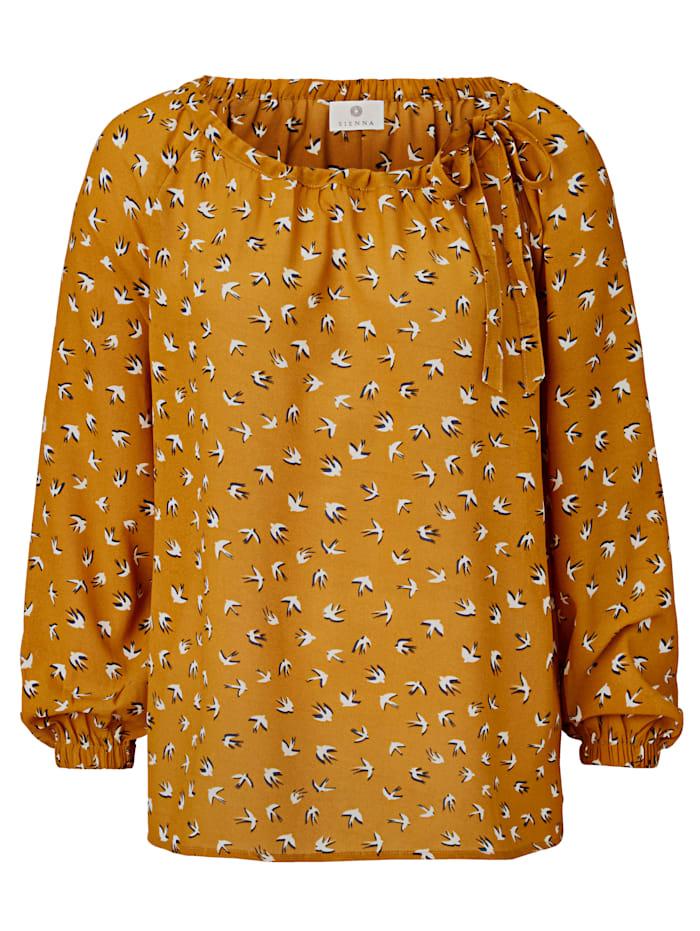 SIENNA Bluse mit Schwalben-Druck, Gelb