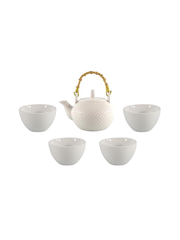 Neuetischkultur Teekanne Porzellan mit 4 Tassen, Weiß