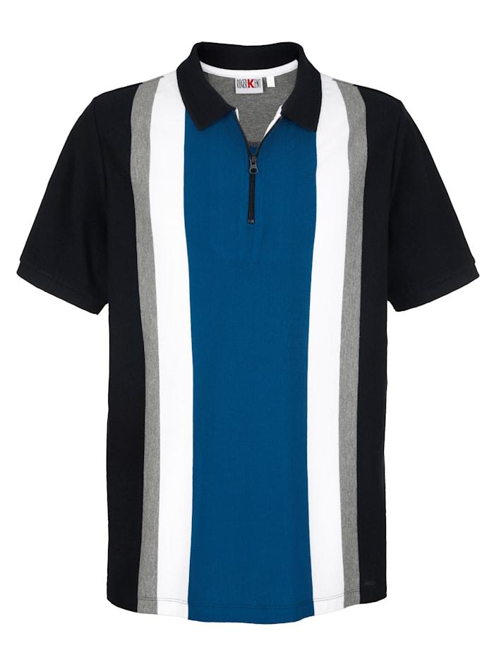 Roger Kent Polo à motif rayé tissé-teint, Bleu/Marine