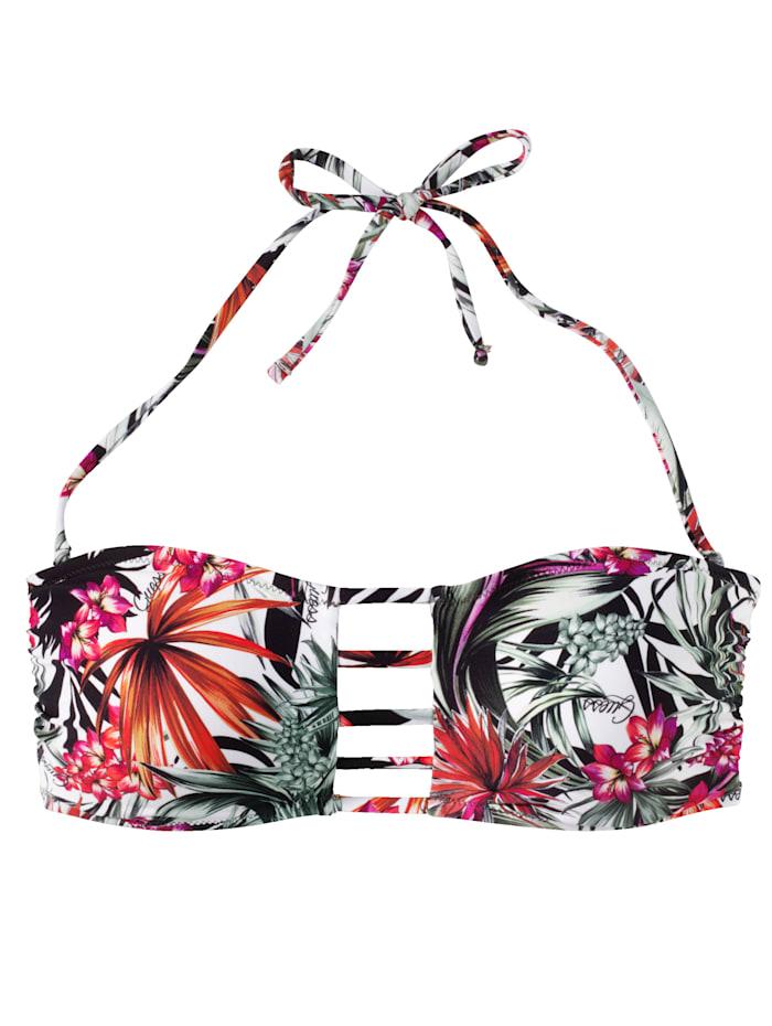 Bandeau Bikini-Top mit tropischem Print