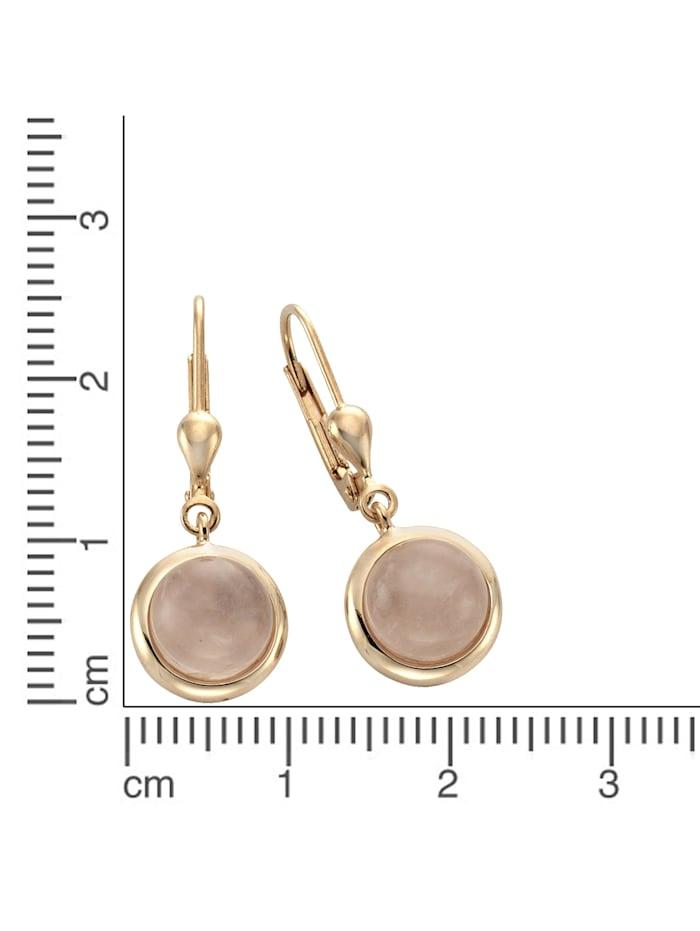 Ohrhänger 925/- Sterling Silber Rosenquarz rosa 2,7cm rotvergoldet 925/- Sterling Silber