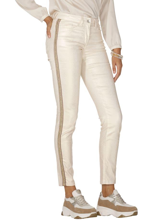 AMY VERMONT Pantalon à reflets chatoyants, Beige/Coloris or