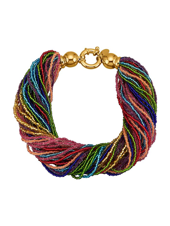 Muranoglas-Armband in Silber 925, vergoldet, Multicolor