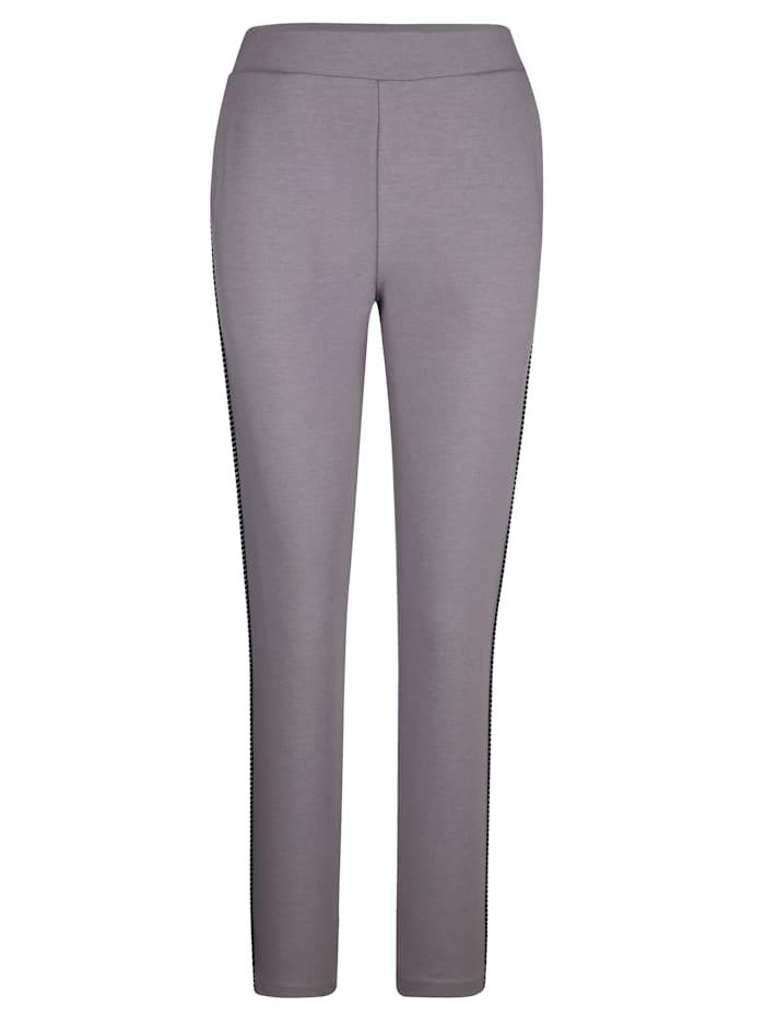 Harmony Pantalons de loisirs avec passepoil rayé côté, Gris