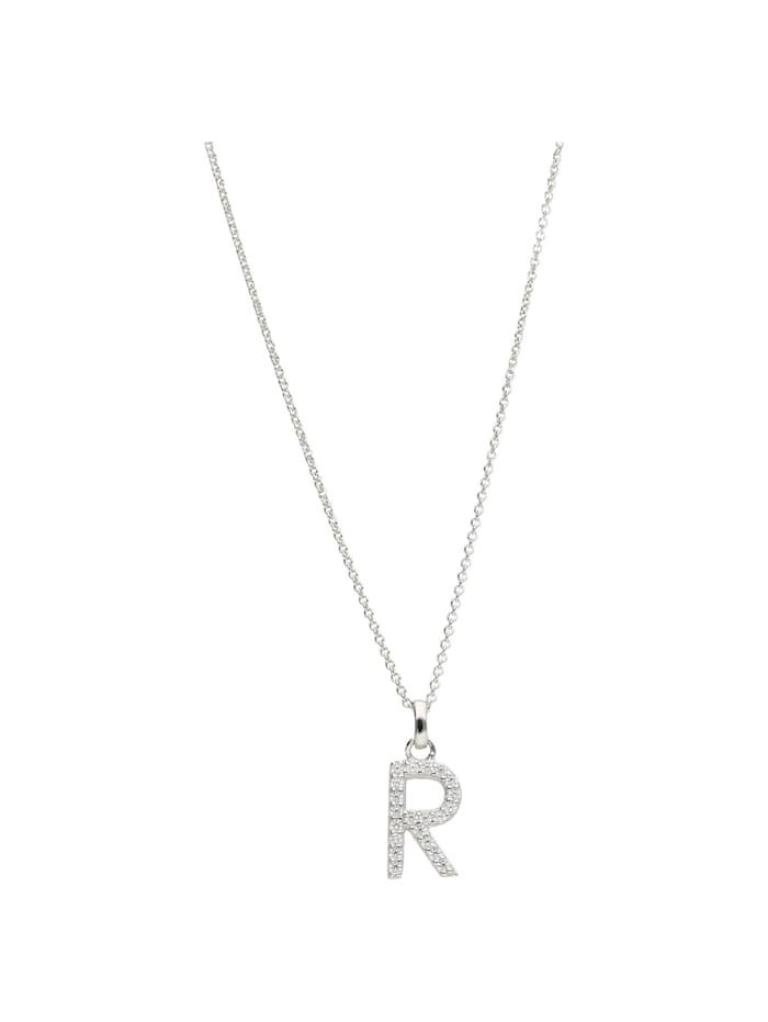 Smart Jewel Kette Buchstabe R mit Zirkonia Steine, Silber 925, Silber