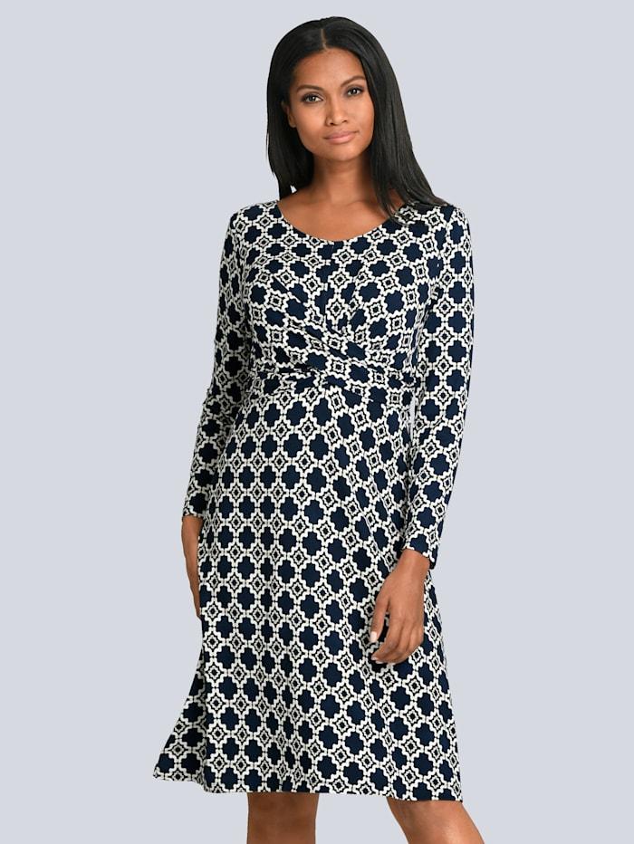 Alba Moda Kleid mit eleganter Wickeloptik im Vorderteil, Marineblau/Beige