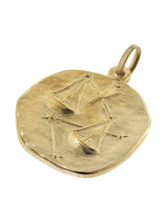 Waage Sternzeichen Anhänger Herren-Halskette Gold auf Silber