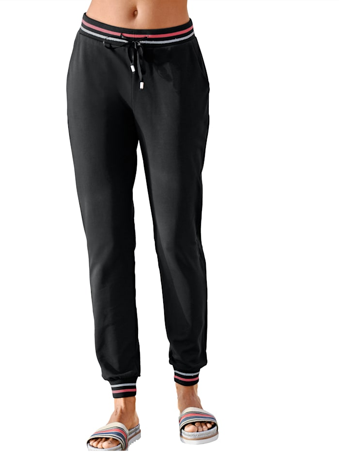 Alba Moda Pantalon de jogging de coupe classique pantalon en molleton à bande rayée, Noir