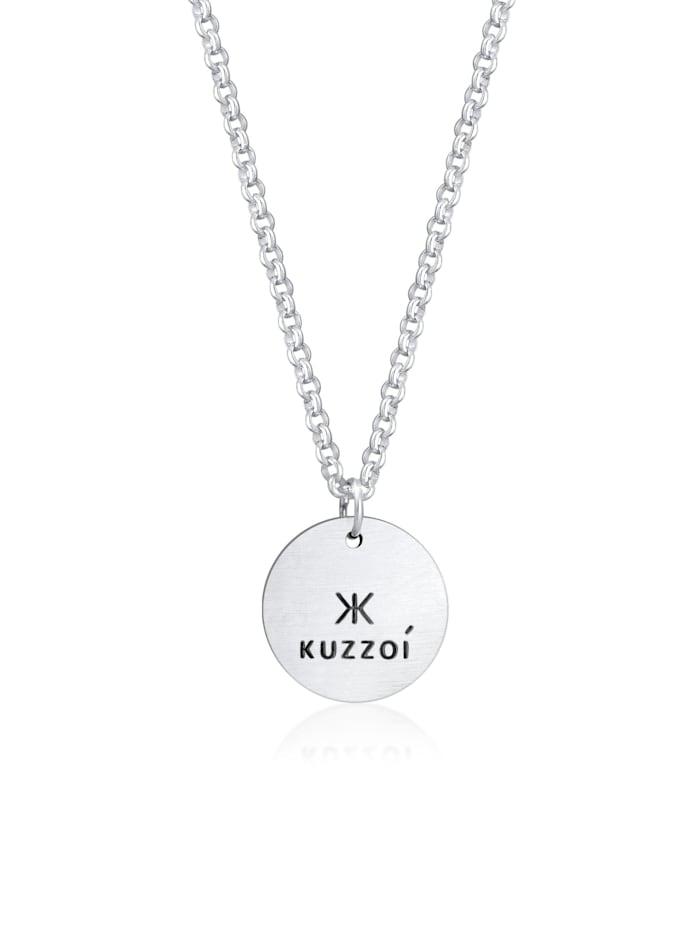 Kuzzoi Halskette Herren Erbskette Coin Massiv Logo 925 Silber, Silber