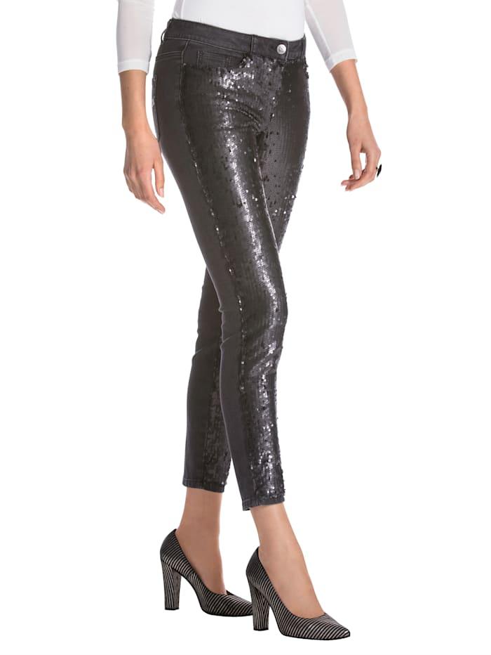 AMY VERMONT Jeans met keerbare pailletten, Zwart