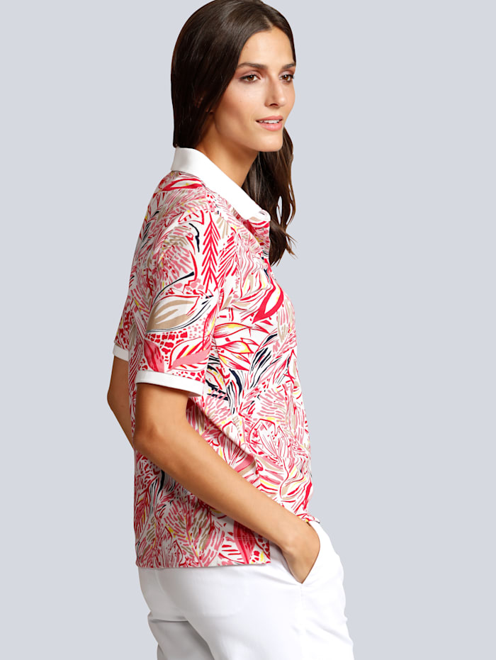 Poloshirt allover im farbenfrohen  Blätterdruck
