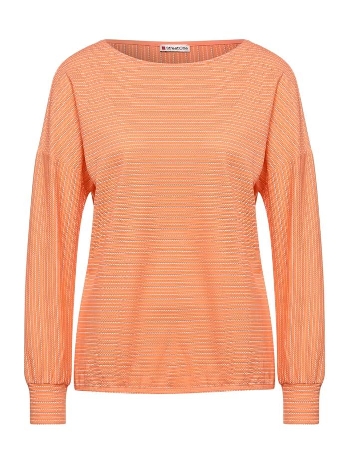 Street One Struktur-Shirt mit Streifen, strong mandarine