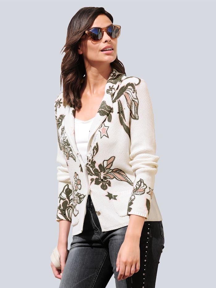 Alba Moda Pletené sako v exkluzívnom dizajne, Prírodná biela/Antracitová/Ružové drevo