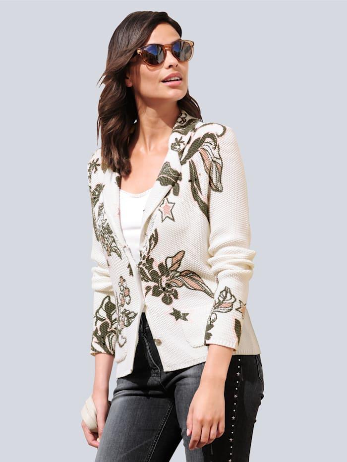 Alba Moda Stickad kavaj med exklusivt mönster, Offwhite/Antracitgrå/Gammalrosa