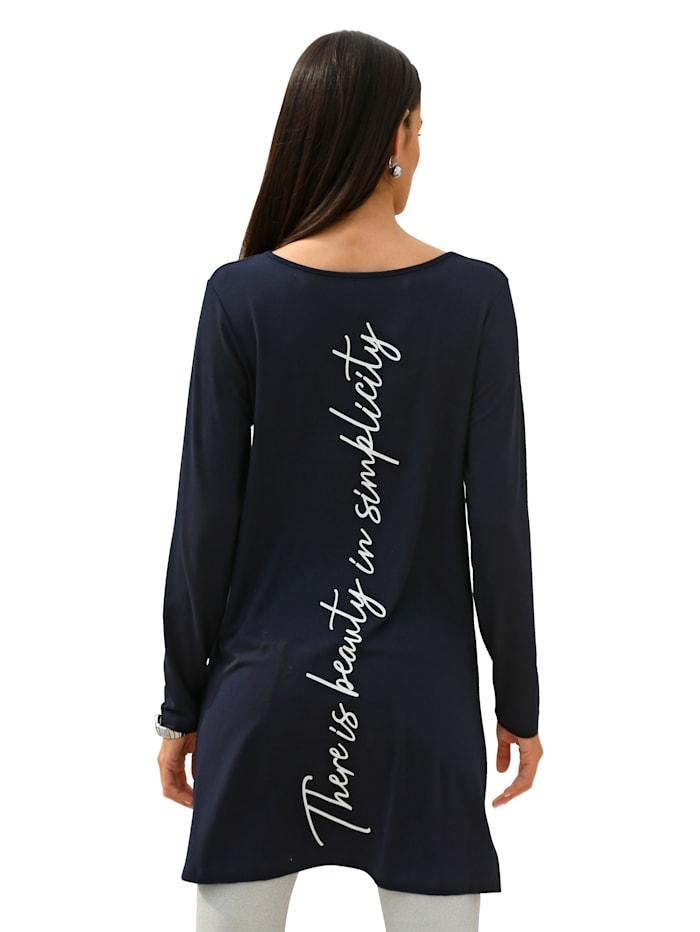 Longshirt met opschrift voor en achter