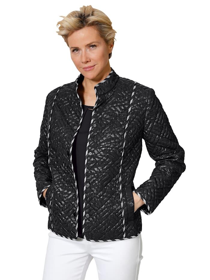 Doorgestikte jas met folieprint