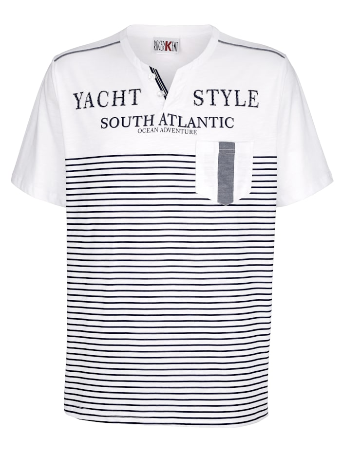 Roger Kent T-shirt met V-hals, Wit