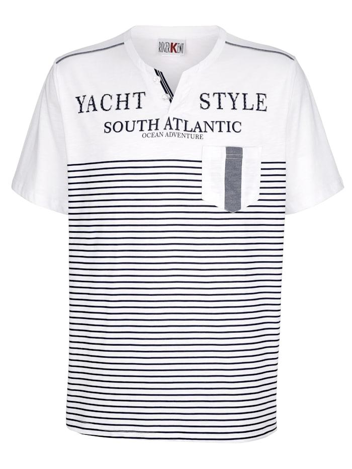 Roger Kent T-Shirt mit V-Ausschnitt, Weiß