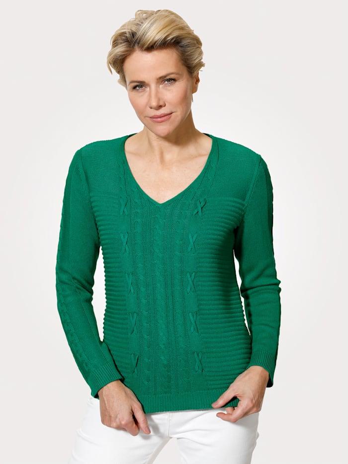 MONA Pullover mit Zopf und Strukturstrick, Grün