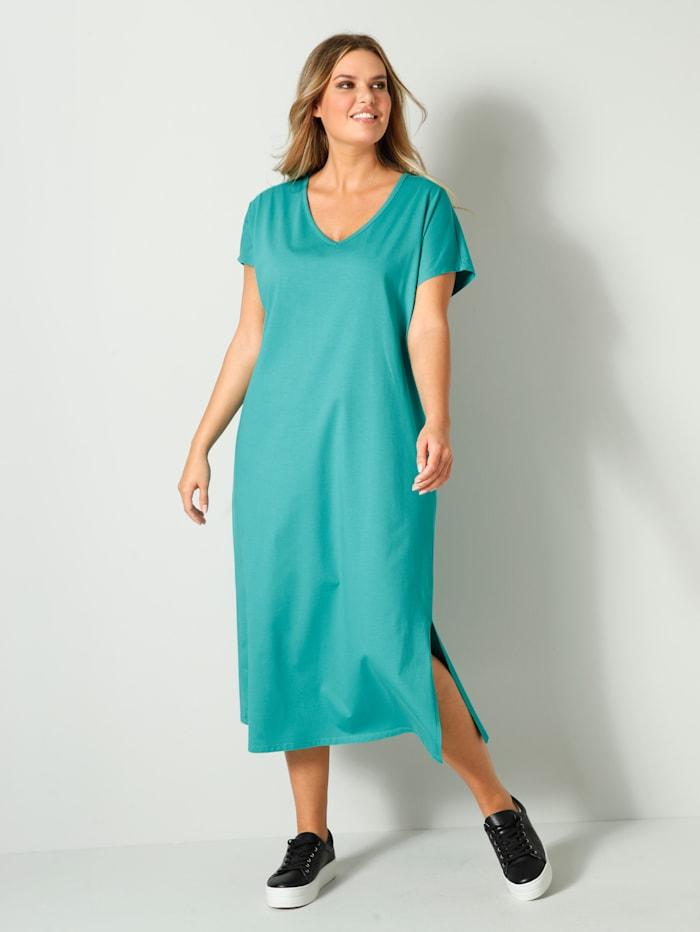 Janet & Joyce Jerseykleid aus reiner Baumwolle, Türkis