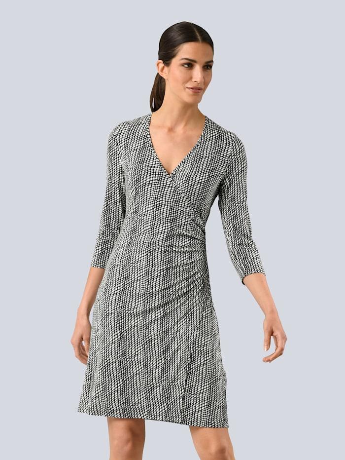 Alba Moda Kleid mit femininer Raffung seitlich in der Taille, Schwarz/Weiß