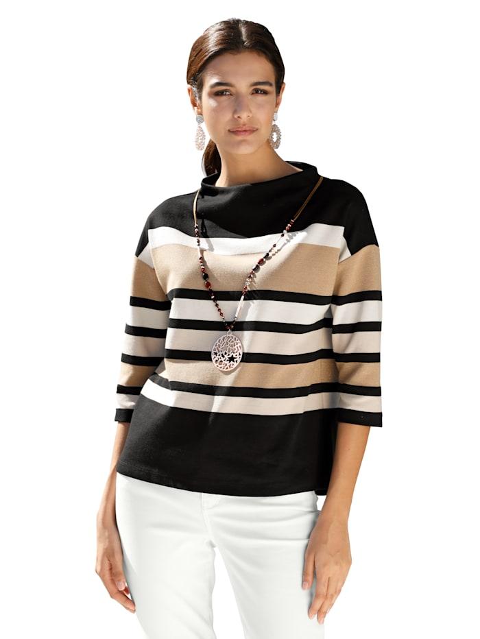 Betty Barclay Shirt mit Streifen allover, Schwarz/Beige
