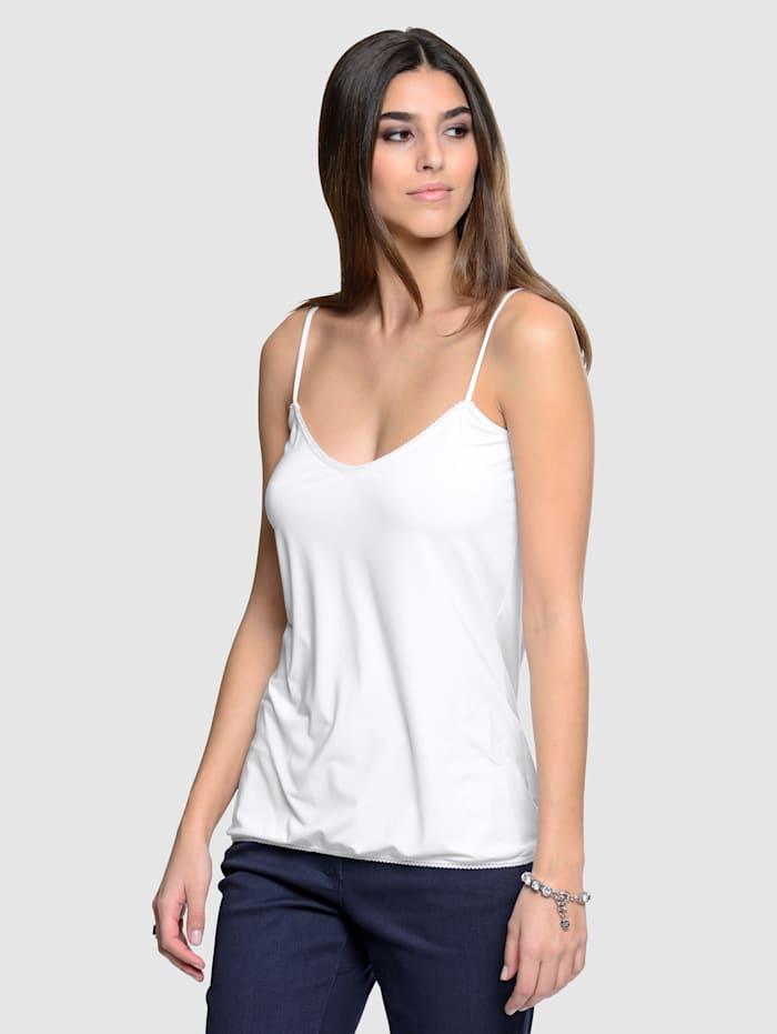 Alba Moda Top mit femininer Häkelkante, Weiß