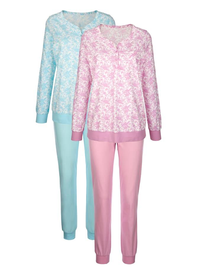 Harmony Pyjamas i 2-pack med bröstficka, Ljusrosa/Turkos/Benvit